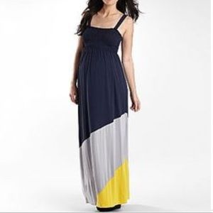 Duo Maternity maxi Navy blue and yellow like new